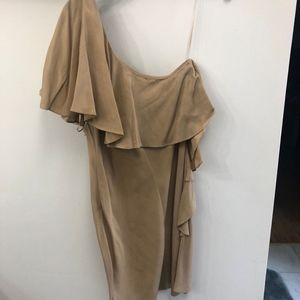 Halston Heritage Size 6 Khaki Brown Ruffle Dress